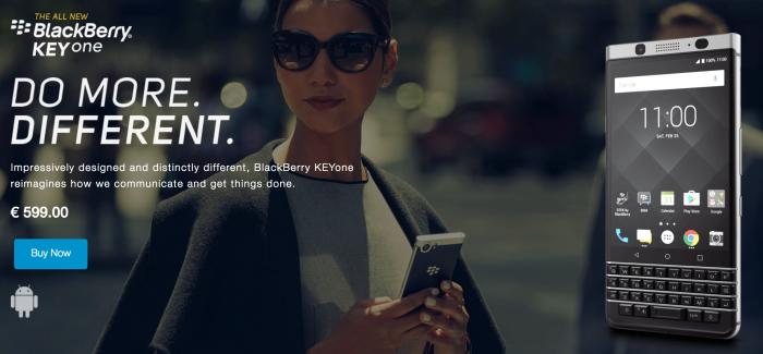 KEYone-puhelin BlackBerry-puhelinten verkkokaupassa.