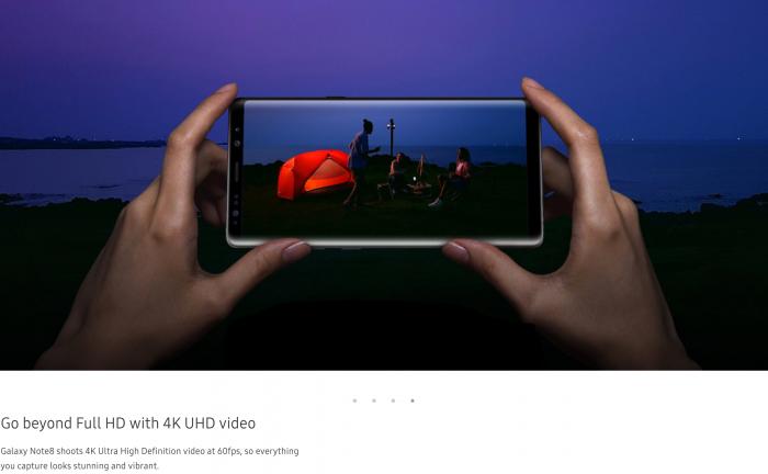 Galaxy Note8 -sivuille on ilmestynyt maininta 4K-videokuvauksesta 60 fps -nopeudella.
