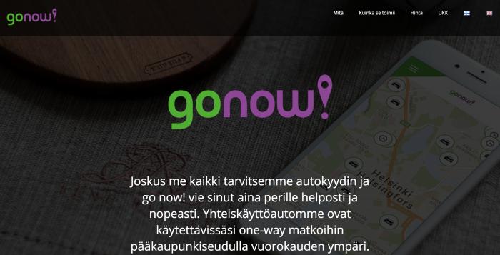 go now! -palvelu tarjoaa autoja lyhytaikaiseen käyttöön.