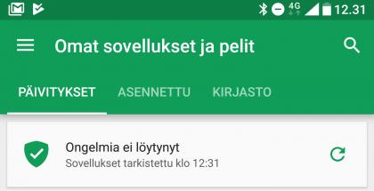 Google Play Protect -skannauksen voi käynnistää halutessaan myös käsin Google Play -kaupan kautta.