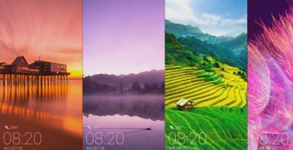 Huawei Mate 10:ssä teksti mukautuu taustakuvan väriin.