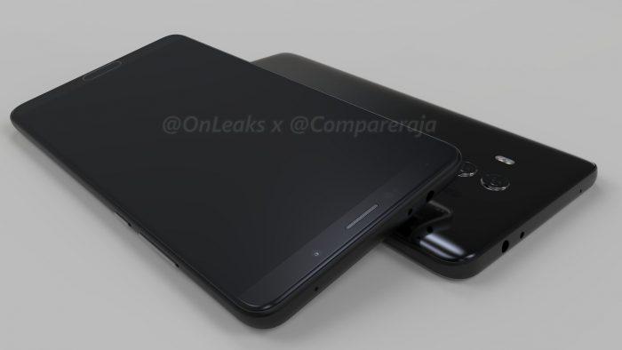 Huawei Mate 10. OnLeaksin yhdessä Comparerajan kanssa julkaisema kuva.