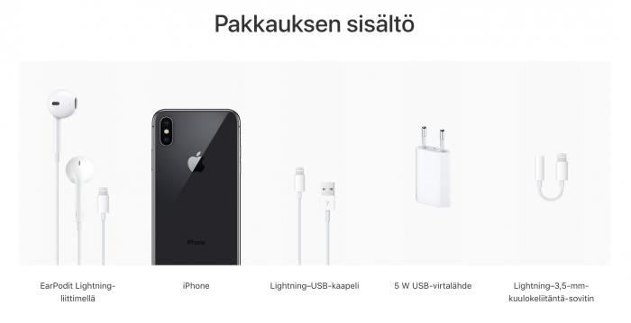 iPhone X:n myyntipakkauksen sisältö.