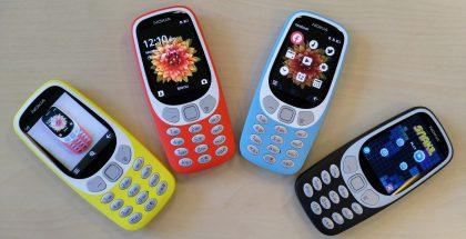 Nykyinen Nokia 3310 3G -värivalikoima.
