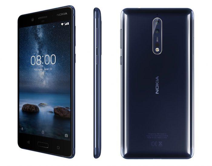 Nykyisin myynnissä oleva Nokia 8 kiillotettuna sinisenä värinä.