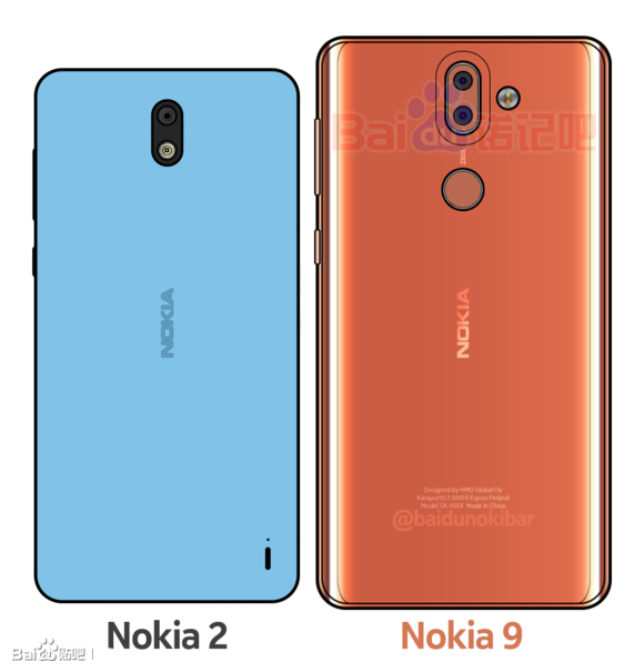 Nokia 2:sta ja Nokia 9:stä julkaistut piirroskuvat.