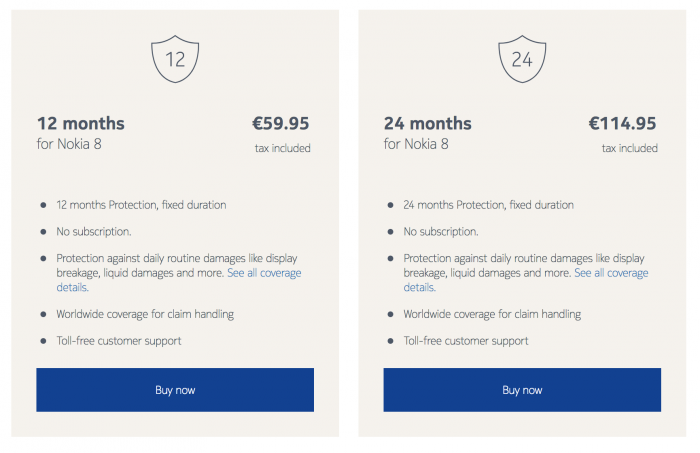 Nokia 8:lle tarjottava vakuutus.