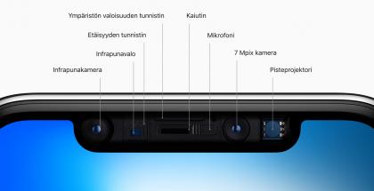 iPhonen näyttöloven muoto ja komponenttien määrä ovat säilyneet vuoden 2017 iPhone X:stä alkaen.