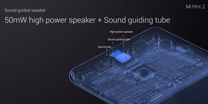 Uuden puhelinkuulokkeen toteutuksen pitäisi parantaa Mi MIX 2:n käytettävyyttä puhelimena.