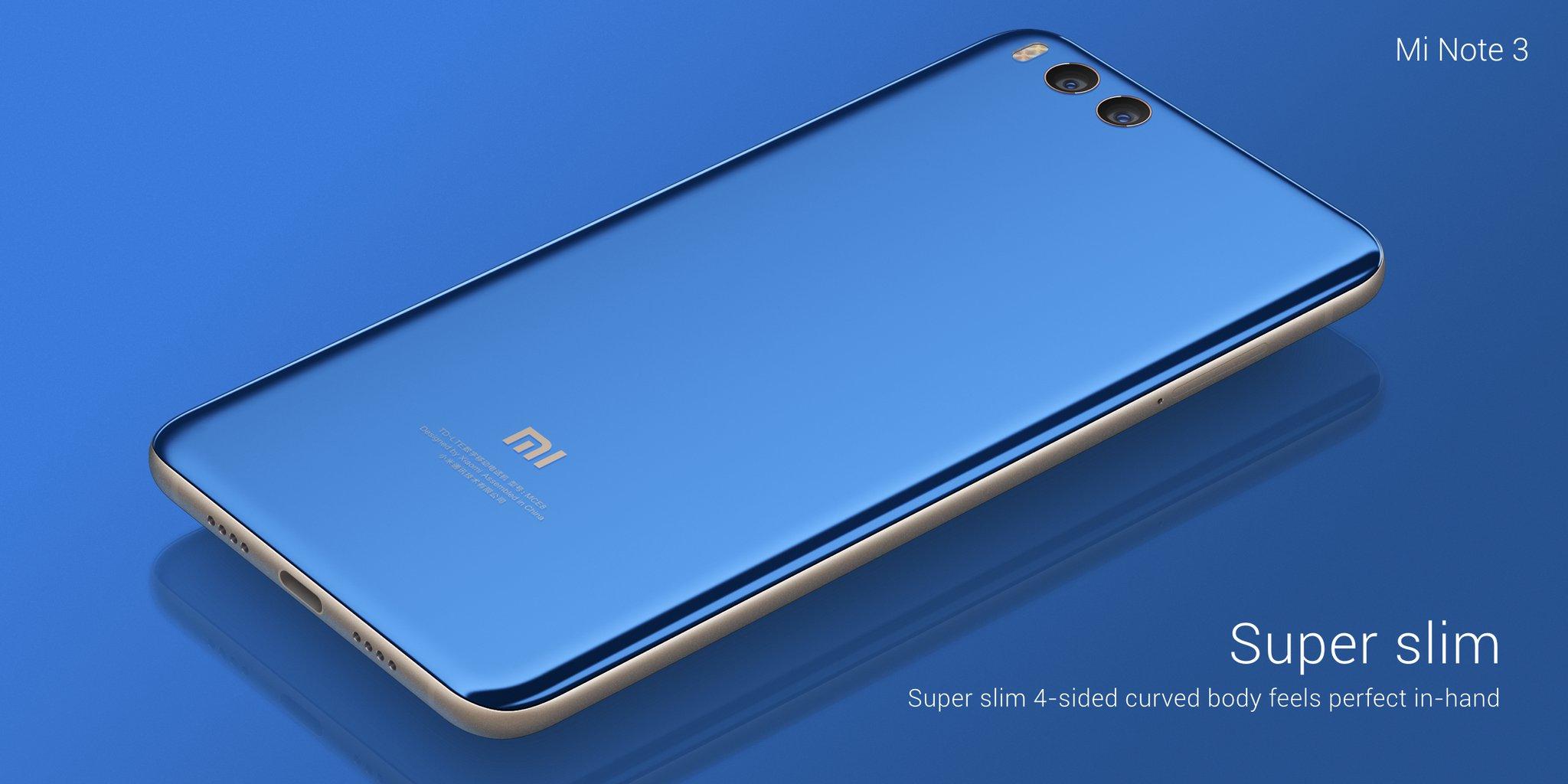 Xiaomi Mi Note 3 on takaa lasia. Runko on alumiinia.