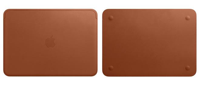 Applen uusi nahkatasku 12 tuuman MacBookille satulanruskeana värinä.