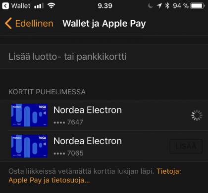 Apple Watchiin Apple Pay -kortit lisätään Wallet ja Apple Pay -osiosta.