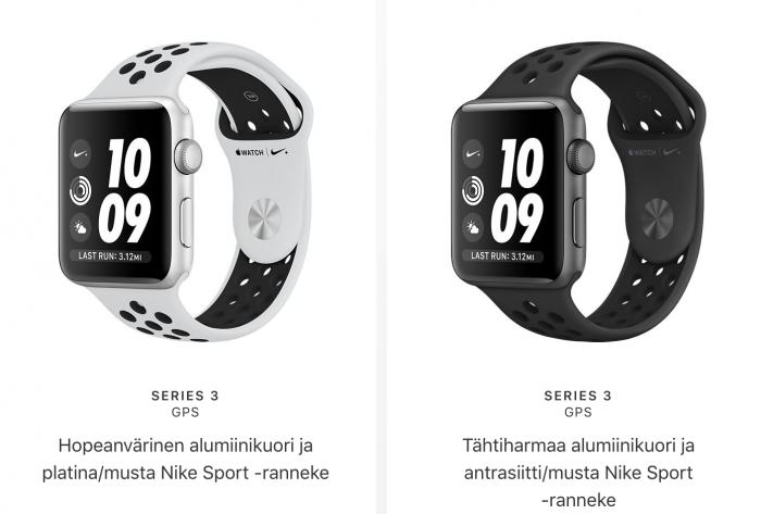 Apple Watch Series 3:n Nike+ GPS -versioiden värivaihtoehdot.