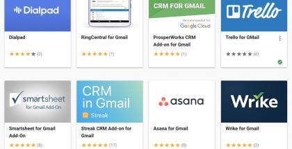 Gmailiin saatavia lisäosia.