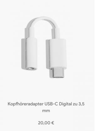 Googlen kuulokeadapteri sen Saksan verkkokaupassa.