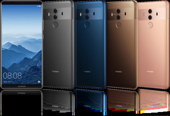 Huawei Mate 10 Pro eri väreinä.