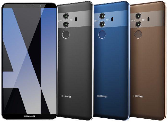 Huawei Mate 10 Pron kolme eri värivaihtoehtoa.