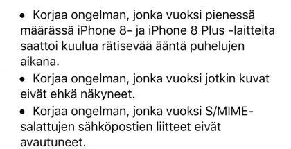 iOS 11.0.2 tuo virhekorjauksia.