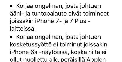 iOS 11.0.3 tuo korjauksia muun muassa iPhone 7 -puhelinten ääni- ja värinäongelmiin.