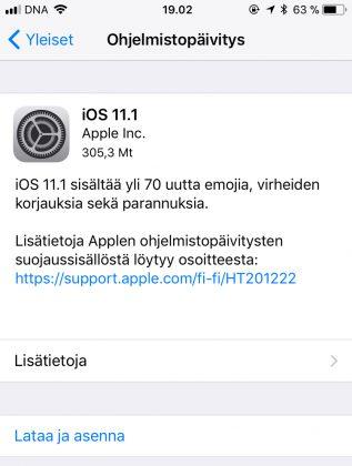 iOS 11.1 on nyt ladattavissa.