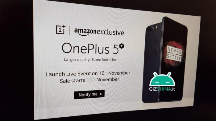 GizChinan julkaisema OnePlus 5T -vuotokuva ilmeisesti Amazonin Intian sivuilta.