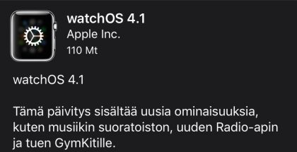 watchOS 4.1 tuo uusia toisto-ominaisuuksia Apple Watchiin.