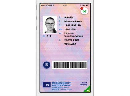 Autoilija-sovelluksen mobiiliajokortti.