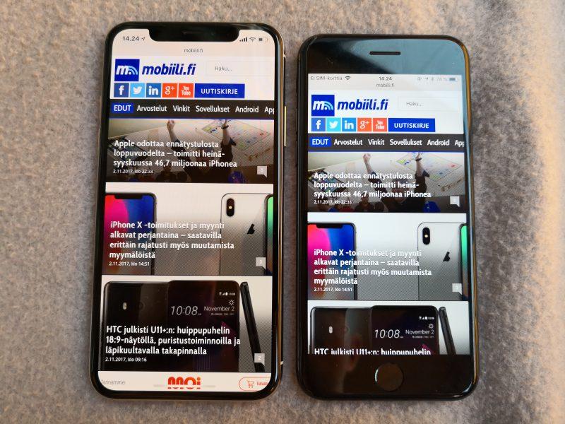 iPhone X:n näyttö on lähes samankokoisessa puhelimessa merkittävästi suurempi kuin iPhone 7:ssä.