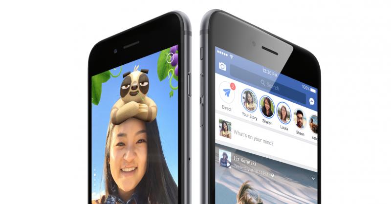 Facebook Stories -tarinat näkyvät Facebook-sovelluksen ylälaidassa.