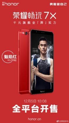 Honor 7X on tulossa punaisena.