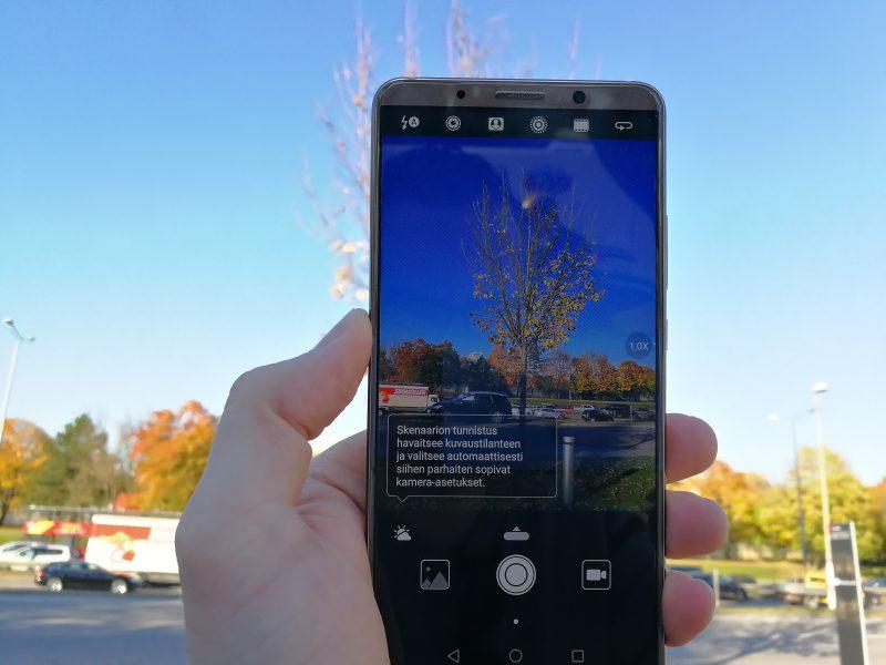 Mate 10 Pron kamera osaa tavallisesti tekoälyn avulla tunnistaa kuvaustilanteet. Tunnistus toimii nopeasti ja myös melko varmasti.
