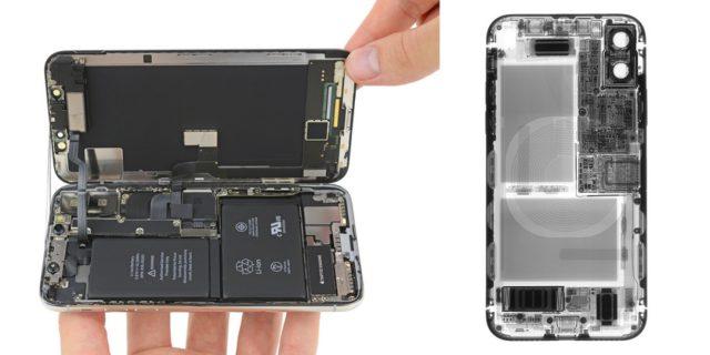 iPhone X sisältä iFixitin kuvissa.