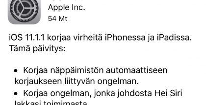 iOS 11.1.1 -päivitys on pienikokoinen korjauspäivitys.