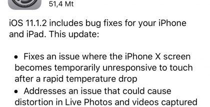 iOS 11.1.2 -päivitys tuo korjauksen kahteen iPhone X - ongelmaan.