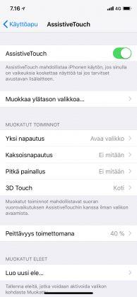 AssistiveTouch-valikko iOS 11:n asetuksissa iPhone X:ssä.
