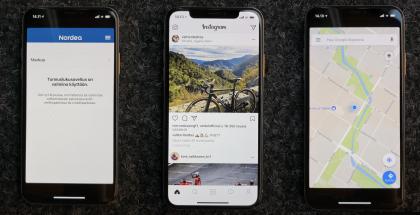 Esimerkiksi Nordean ja monia Googlen sovelluksia ei ole vielä optimoitu iPhone X:lle. Facebookin sovellukset, mukaan lukien kuvassa näkyvä Instagram, sen sijaan oli pääosin optimoitu jo heti iPhone X:n tullessa myyntiin.