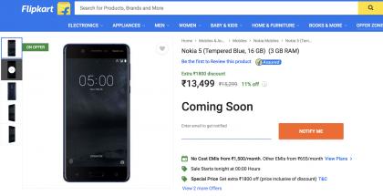 Nokia 5:n uusi versio Flipkartissa.