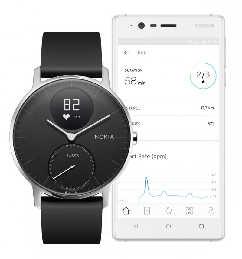 Steel HR -kellosta aktiivisuustiedot siirtyvät älypuhelinsovellukseen.