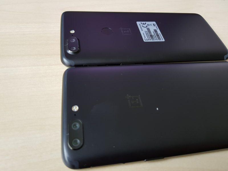 OnePlus 5T ja OnePlus 5 aiemmin vuotaneessa kuvassa.