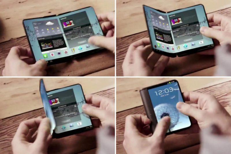 Ideoita taittuvasta älypuhelimesta taipuvalla näytöllä on nähty jo muun muassa Samsungin konseptivideolla.