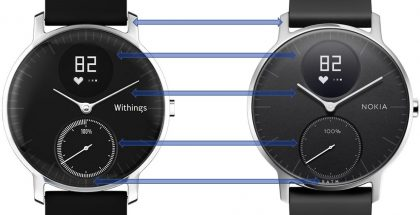 Withings- ja Nokia-versiot Steel HR:stä NokiaMobin tekemässä vertailussa.