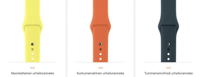 Uudet Apple Watchin urheilurannekkeen värit.