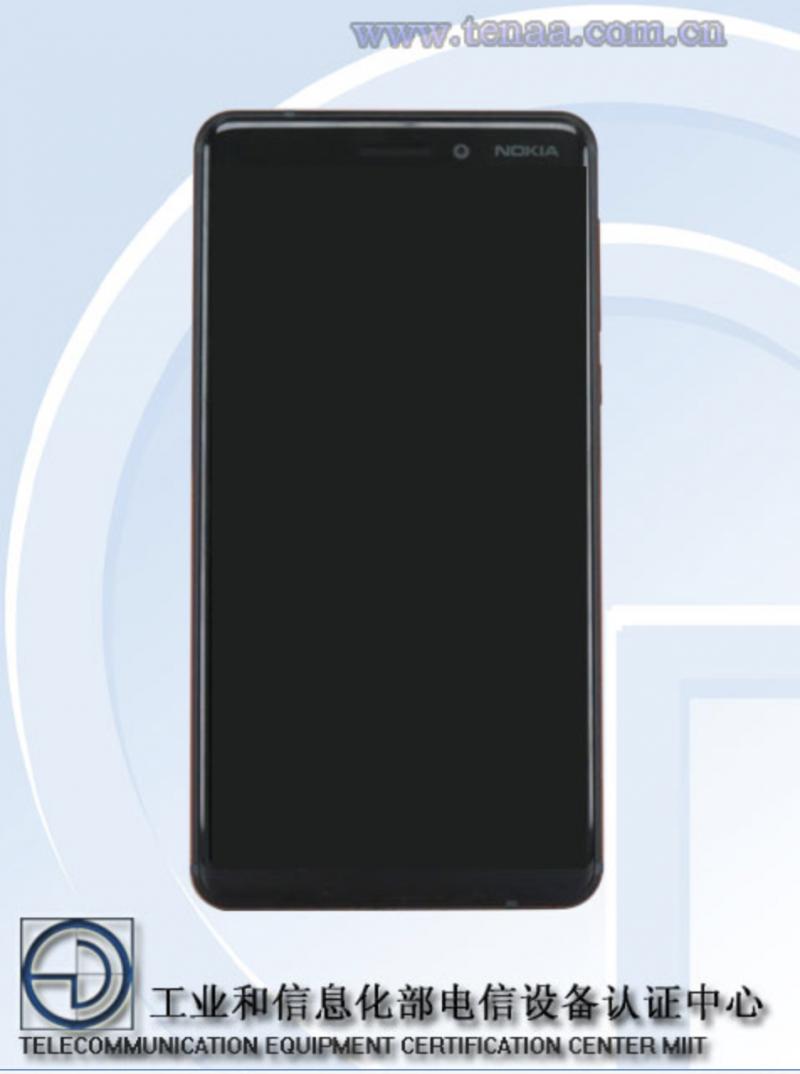 Uusi Nokia 6 edestä.
