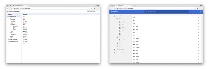 Chrome 62 vs. Chrome 63, kirjanmerkkien hallinta. Kuva: 9to5Google.