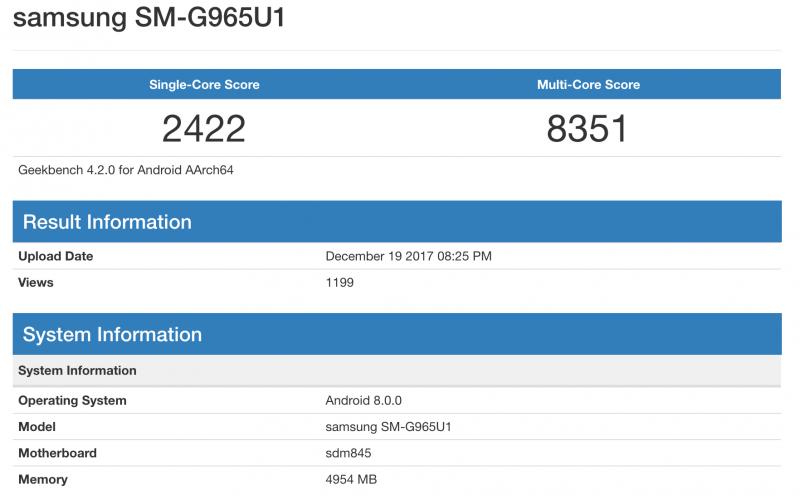 Galaxy S9+ GeekBenchissä Snapdragon 845:llä.