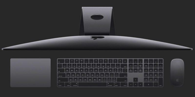 iMac Pro saa rinnalleen tähtiharmaan Apple-näppäimistön, hiiren ja kosketuslevyn.