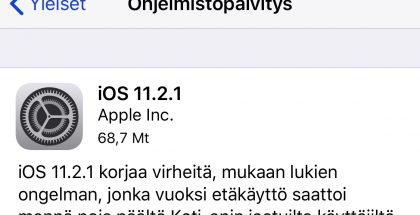 iOS 11.2.1 on pieni korjauspäivitys.