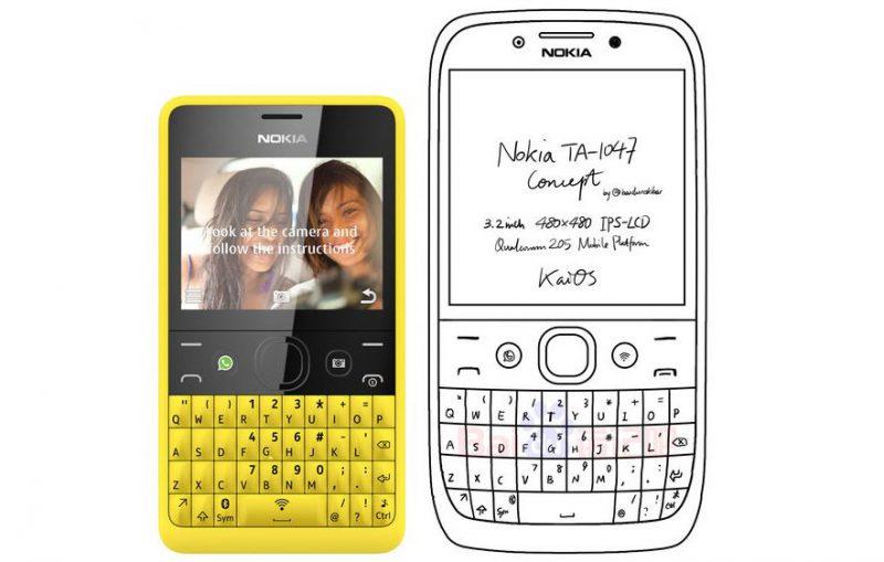 Kiinassa luotu konseptikuva mahdollisesta täysnäppäimistöllisestä Nokia-puhelinuutuudesta. Rinnalla keltainen Asha 210 -malli muutaman vuoden takaa.