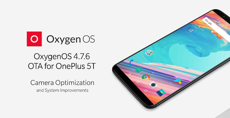 OxygenOS 4.7.6 -päivitys OnePlus 5T:lle.
