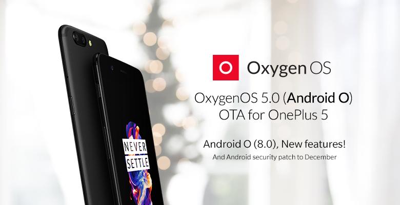 OnePlus 5:n Oreo-päivitys.